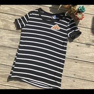 Women's black/white striped pizza shirt S